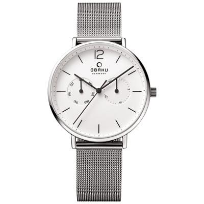 OBAKU  丹麥皇家簡約雙眼時尚腕錶-白x米蘭錶帶/40mm