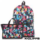 美國K-CLIFFS 幾何印花輕量極簡兩用包-黑