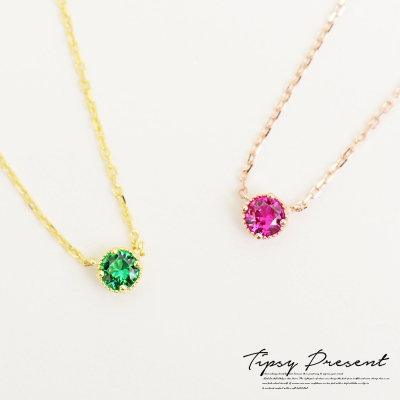 微醺禮物 925銀 鋯石 小公主單鑽 項鍊 兩色