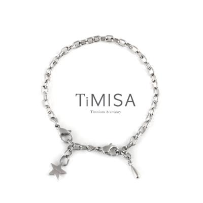 TiMISA 動感 純鈦手鍊(M) 串珠款(含延長鍊)