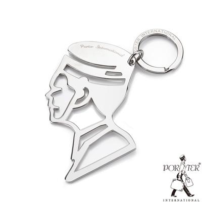 PORTER -  大師藝匠 Key chain 鏤空設計側臉鑰匙圈 - 銀