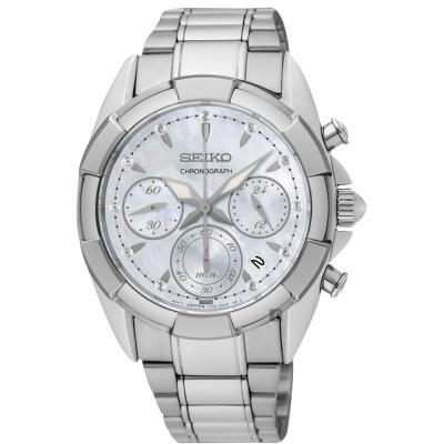SEIKO精工 晶鑽計時手錶(SRW807P1)-珍珠貝x銀/36mm