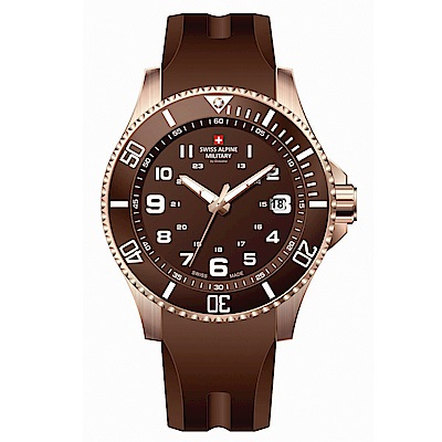阿爾卑斯軍錶S.A.M 紅色警戒系列潛將-沙灘褐/橡膠錶帶/43mm