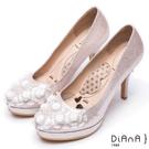 DIANA 漫步雲端瞇眼美人款--夢幻逸品玫瑰花水鑽新娘跟鞋 – 粉
