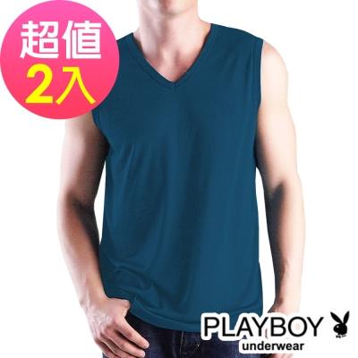 PLAYBOY 輕肌感琱絲排汗V領無袖衫(2件組)