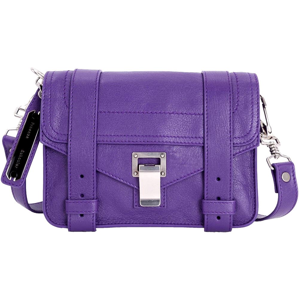 PROENZA SCHOULER PS1 Mini Pouch 銀釦山羊皮革斜背包(紫色)