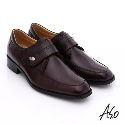 A.S.O 超輕雙核心 牛皮小方楦魔鬼氈奈米紳士鞋 酒紅色