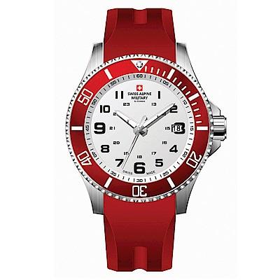 阿爾卑斯軍錶S.A.M 紅色警戒系列潛將-熱力紅/橡膠錶帶/43mm