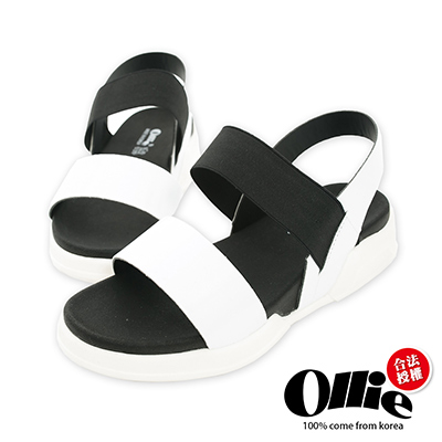 Ollie韓國空運-正韓製亮面漆皮撞色厚底涼鞋-白