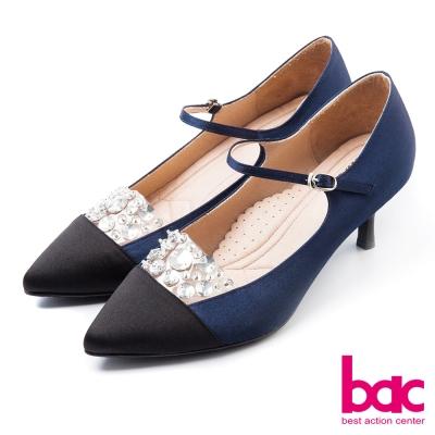 bac古典高雅閃亮拼接雙色尖頭瑪莉珍高跟鞋藍