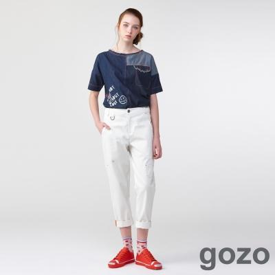 gozo 時髦小高調搖滾工作褲(二色)-動態show
