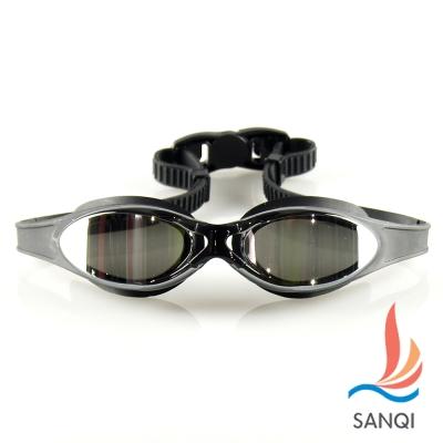 SANQI三奇 夏日必備抗UV防霧休閒泳鏡(380-黑F)