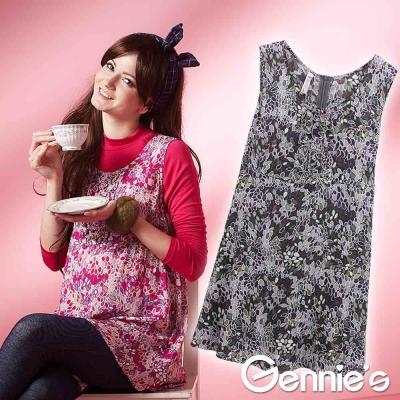 【Gennie's奇妮】復古葉葉情懷孕婦背心上衣-紅/紫(G3221)