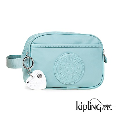 Kipling 化妝包 碧藍素面-小