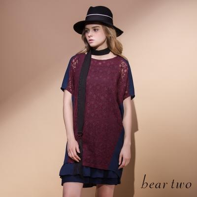 beartwo 附背心優雅提織蕾絲造型拼接洋裝(共兩色)