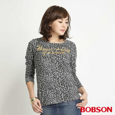 BOBSON 女款豹紋長袖上衣(黑01)