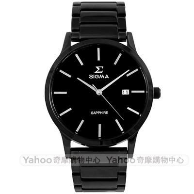SIGMA 都會藍寶石鏡面時尚男手錶-黑/41mm
