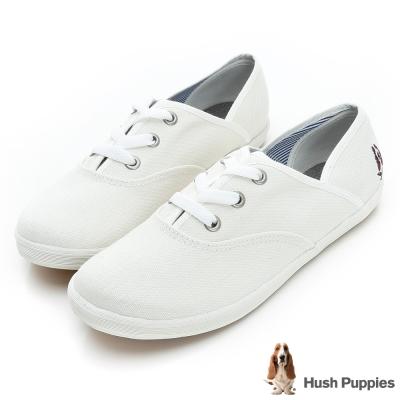 Hush Puppies 熱銷基本款★咖啡紗帆布鞋-米白