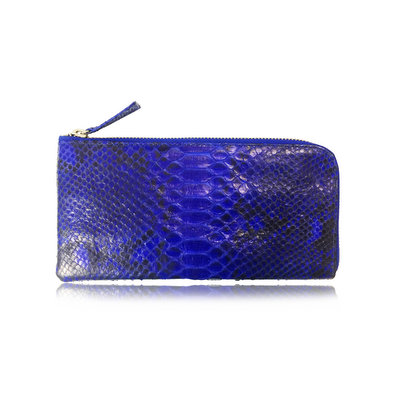 ACUBY 限量單品手工蛇皮L型長夾/寶石藍
