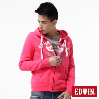 EDWIN 連帽外套 LOGO貼布繡拉T-男-桃紅