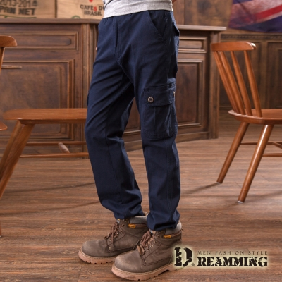Dreamming 極限動力純色伸縮休閒工作長褲-深藍