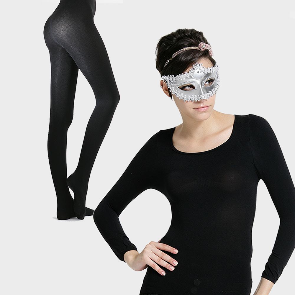 足下物語  台灣製140丹熱感應發熱U領長T恤+美腿襪二件組 (黑)
