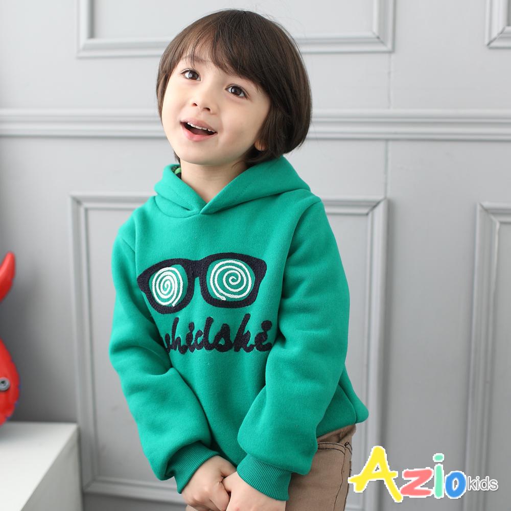 Azio Kids-鏡面螺旋眼鏡刷毛縮口長袖帽T(綠)