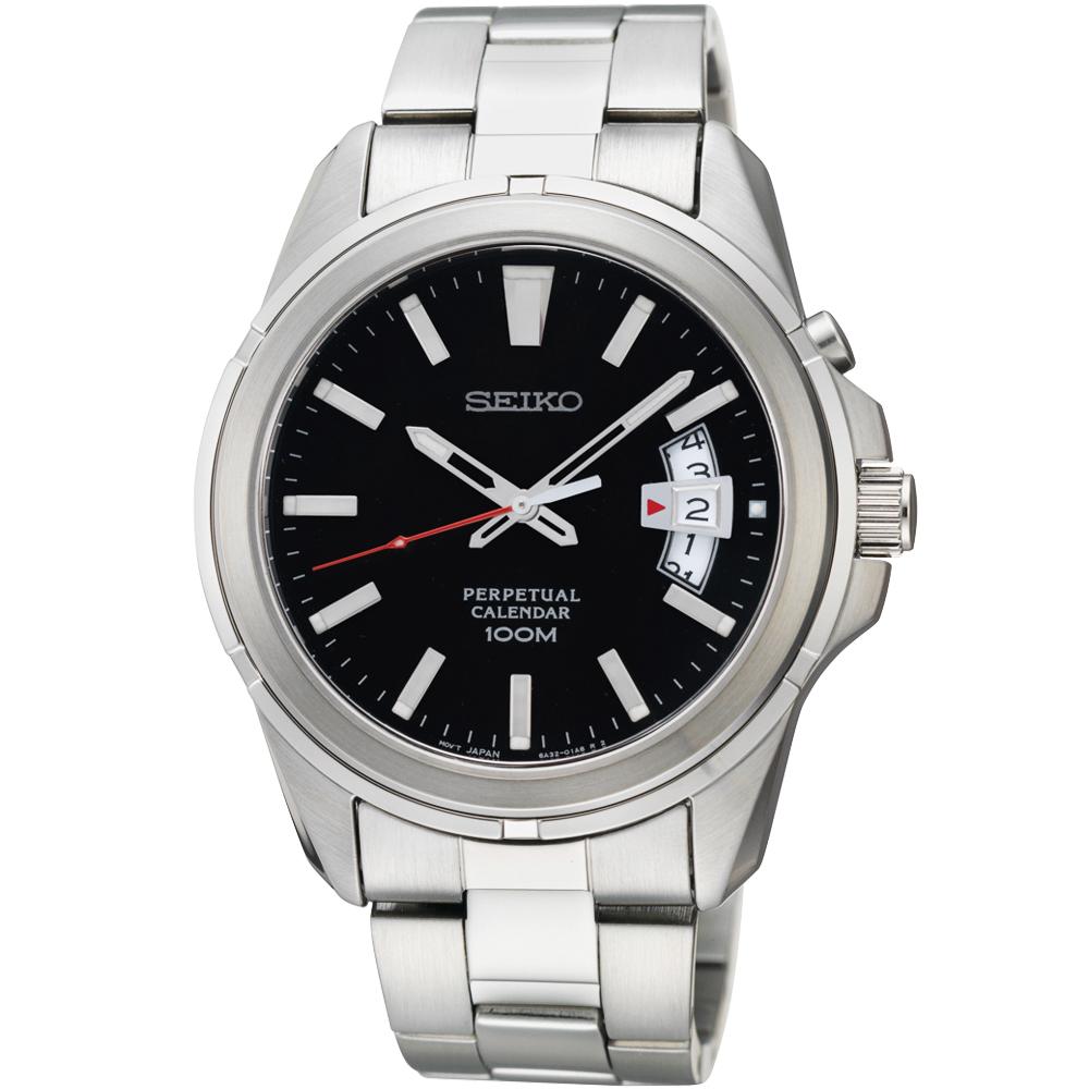 SEIKO CS 尊爵萬年曆時尚腕錶(SNQ131P1)-黑/40mm