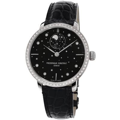 康斯登 CONSTANT 自製機芯超薄月相星腕錶-38mm/黑