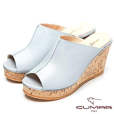 CUMAR時尚百搭-簡約設計感真皮船台涼鞋-藍色