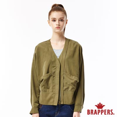 BRAPPERS 女款 V領落肩長袖外套-墨綠