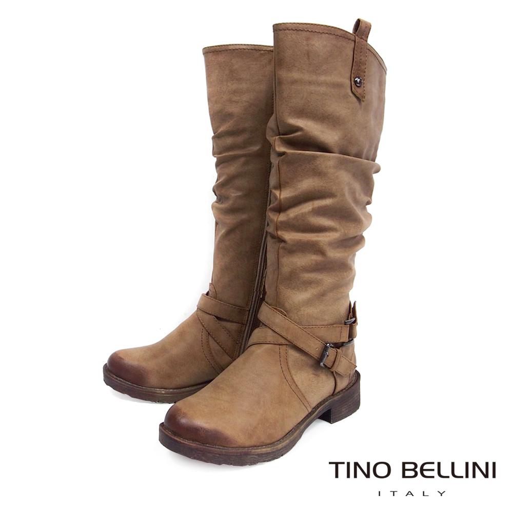 Tino Bellini中性時尚抓皺工程長筒靴_擦色駝