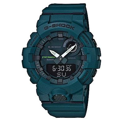 G-SHOCK機能與智能完美科技藍芽連接運動休閒錶(GBA-800-3)藍綠/48.6mm