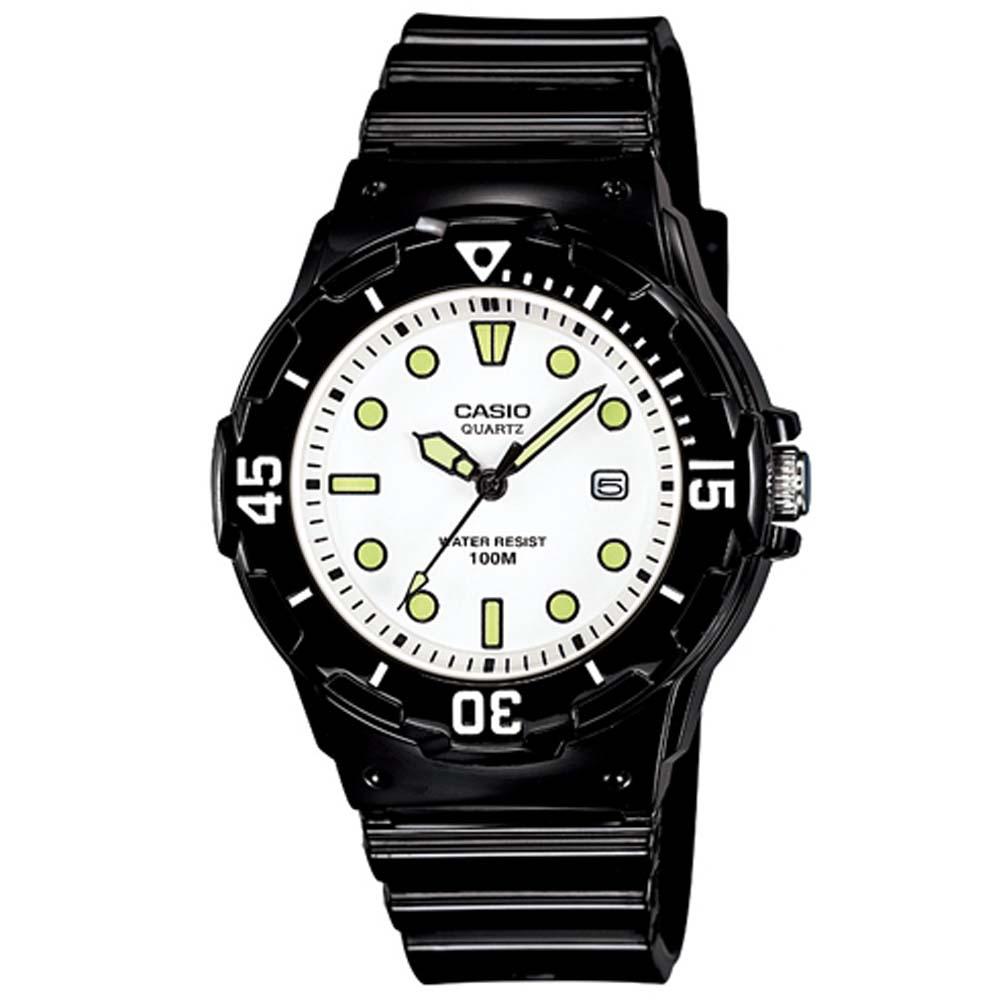 CASIO 潛水風運動休閒腕錶(LRW-200H-7E1)-白x螢光/34mm