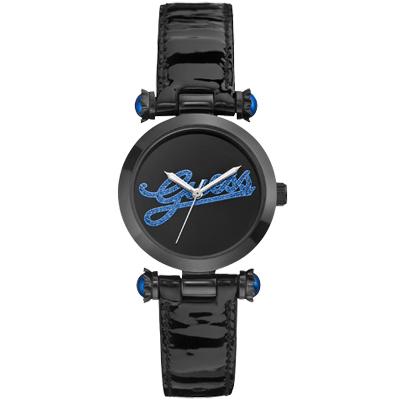 GUESS 浮華摩登漆靚時尚腕錶-黑藍/33mm