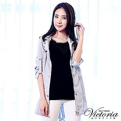 Victoria 領口蕾絲拼接背心-女-黑色