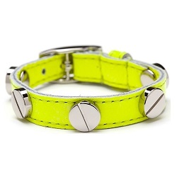 CC SKYE好萊塢熱門品牌 銀鉚釘螢光黃小羊皮單圈手環