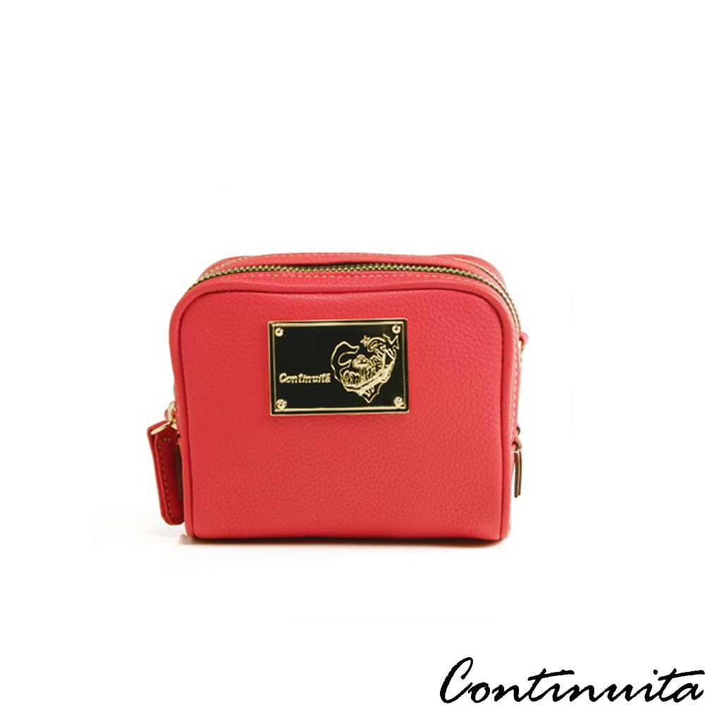 Continuita 康緹尼 頭層牛皮法式馬卡龍雙層化妝包-紅色