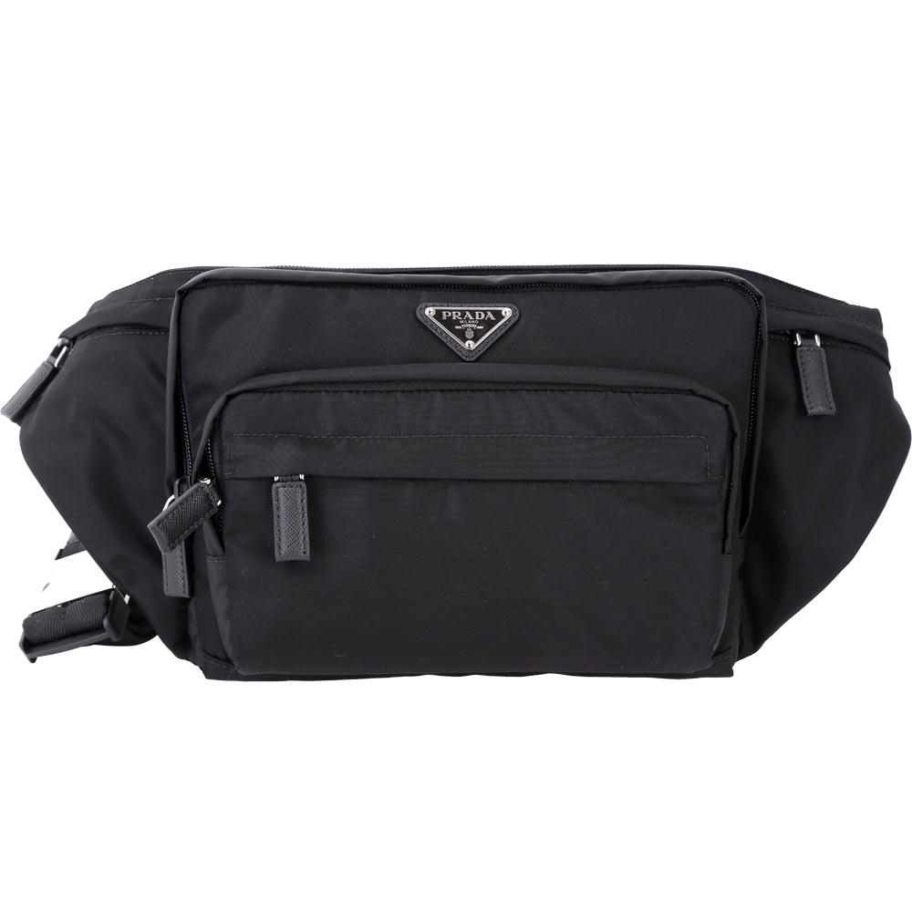 PRADA Tessuto 經典三角牌多功能口袋設計尼龍斜背包(黑色)PRADA
