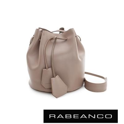 RABEANCO-真皮經典束口水桶包-深杏