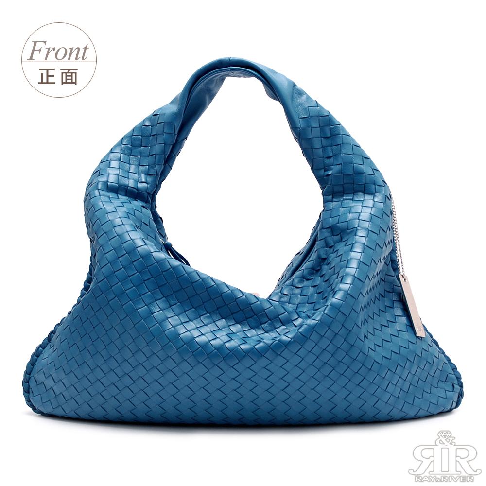 【2R】頂級訂製NAPPA羊皮手工梭織彎月包(優雅湛藍)