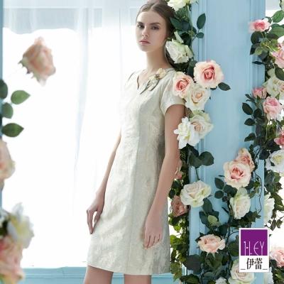 ILEY伊蕾-奢華金緻短袖洋裝