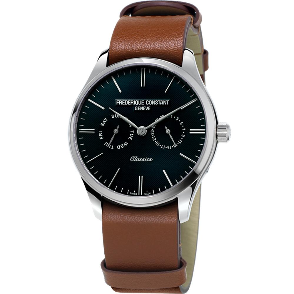 康斯登Classics Quartz 百年經典Day-Date腕錶-40mm/黑x咖啡