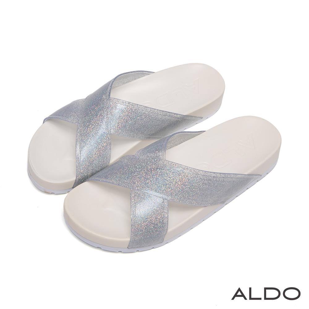 ALDO 星光熠熠寬版交叉亮蔥QQ厚底涼鞋~氣質冰心