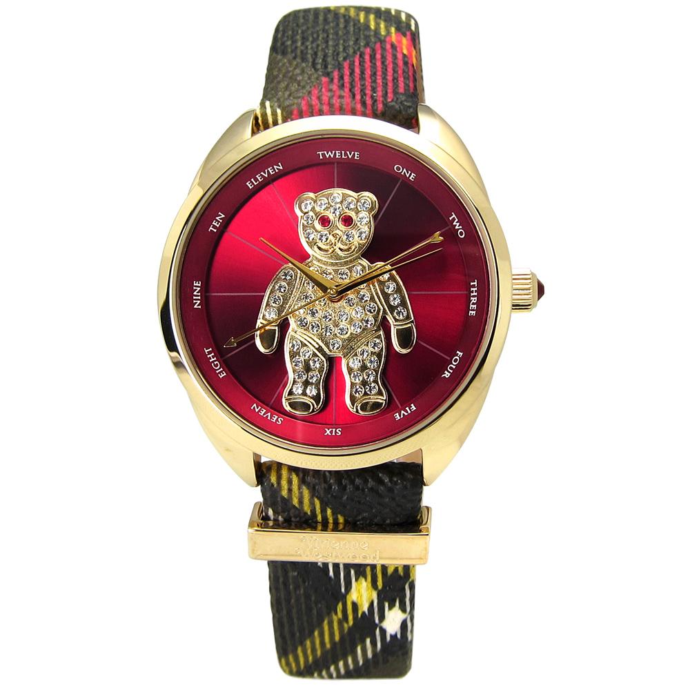 Vivienne Westwood 狂歡泰迪蘇格蘭紋皮革晶鑽腕錶-紅x金框/38mm