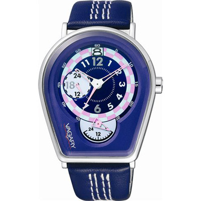 VAGARY 馬蹄造型皮帶錶-紫藍色
