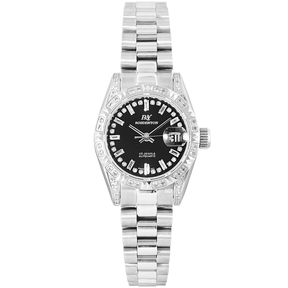 ROSDENTON 勞斯丹頓典藏旋風晶鑽機械手錶-黑X銀/25mm