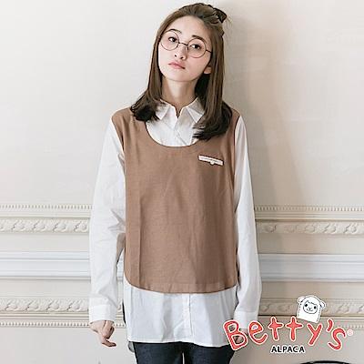 betty's貝蒂思 拼接布假兩件式襯衫(褐色)