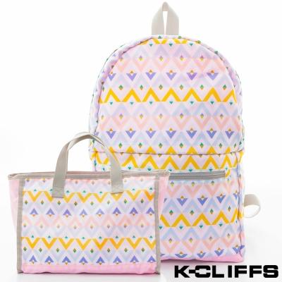 美國K-CLIFFS 幾何印花輕量極簡兩用包-粉
