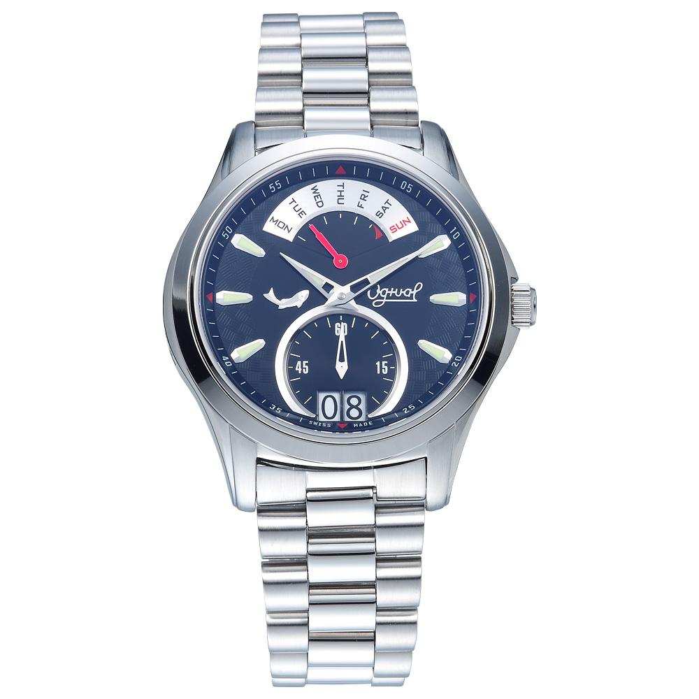 Ogival 瑞士愛其華 逆跳極速多顯腕錶-黑/40mm